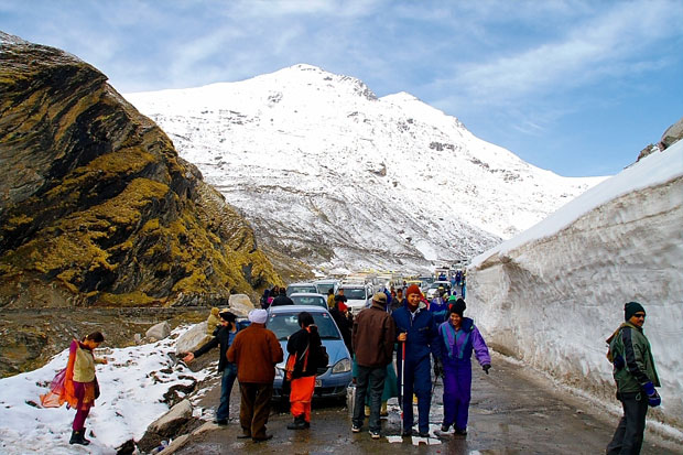 Tourist near Rohtang Pass