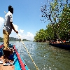 Sea journey by boat to limestone caves from Baratang of Andaman