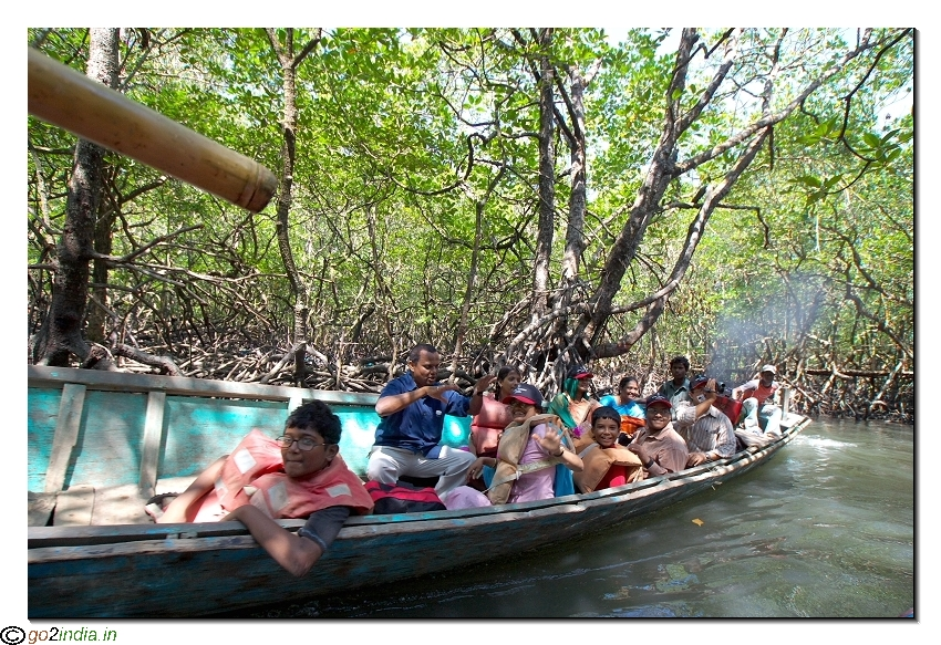 Motor boat journey from Baratang to limestone caves inside forest