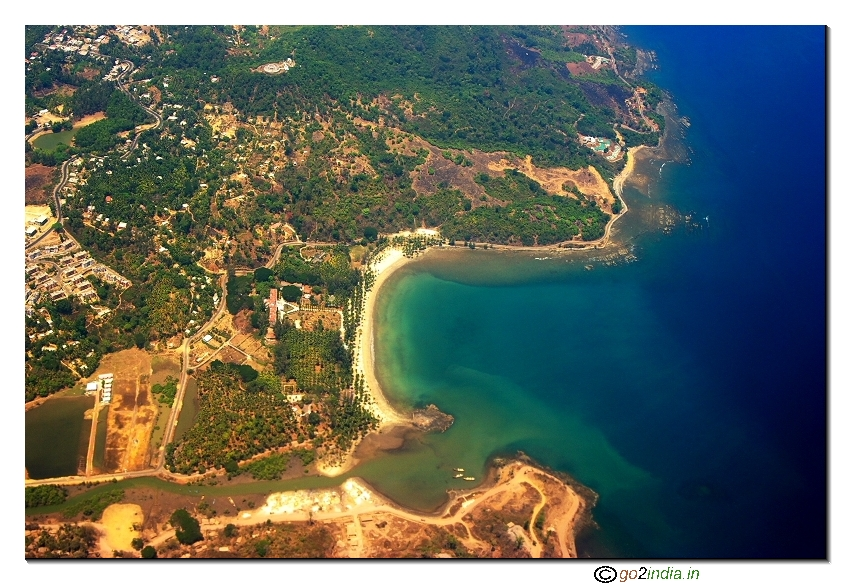 Andaman islands aerial view of Corbyn cove beach