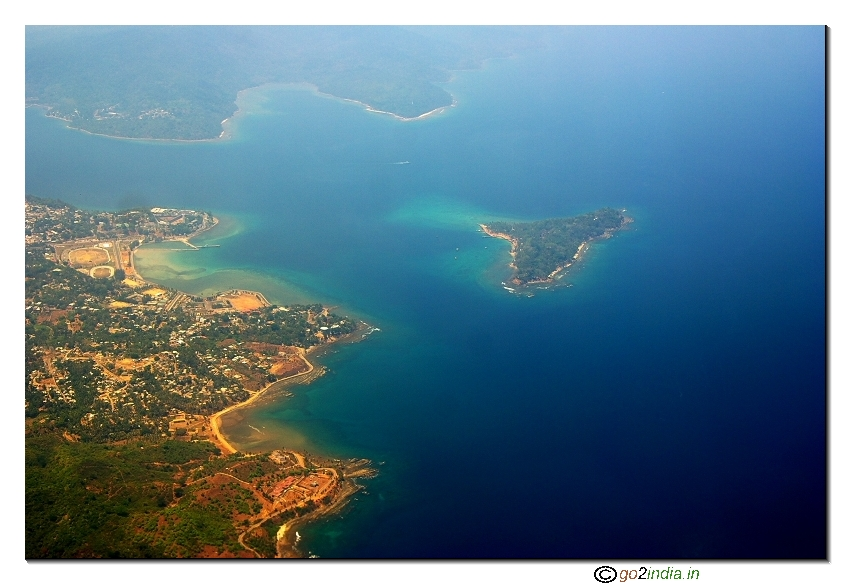 Andaman islands aerial view of Corbyns cove beach and Ross island