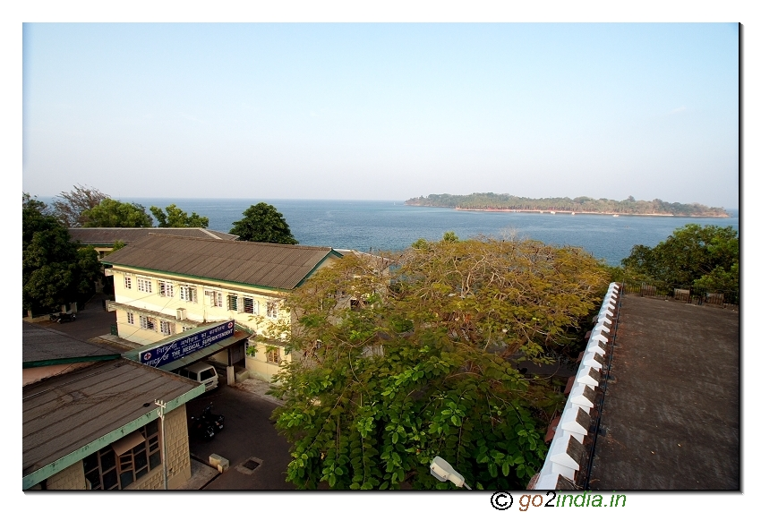 Andaman cellular jail beach view from top