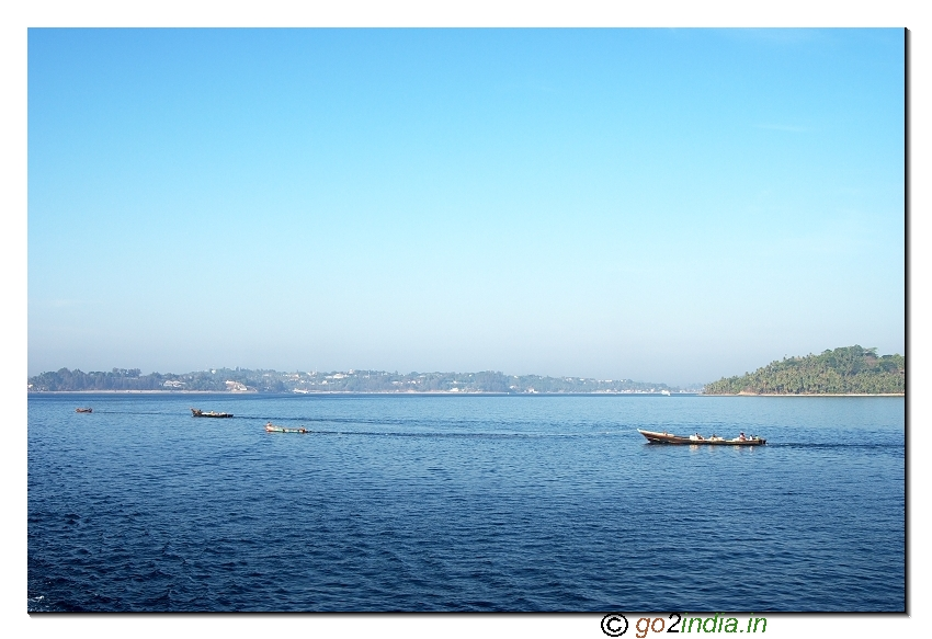A view of North bay coral island while travelling to Havellock in Andaman