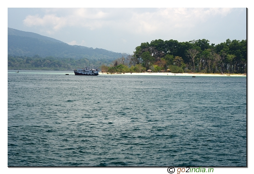 Jolly buoy island partial view from sea in Andaman