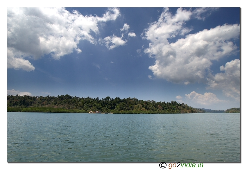 Sea water and forest area on the way to limestone caves from Baratang in Andaman