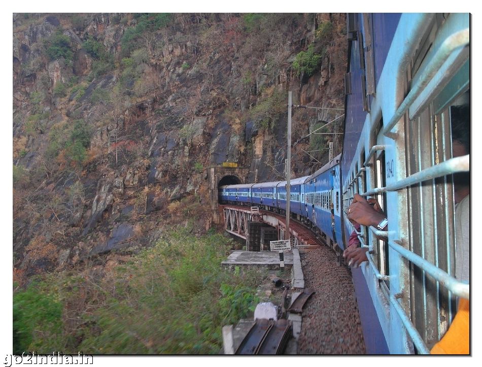Araku train out of tunnel - Month of April