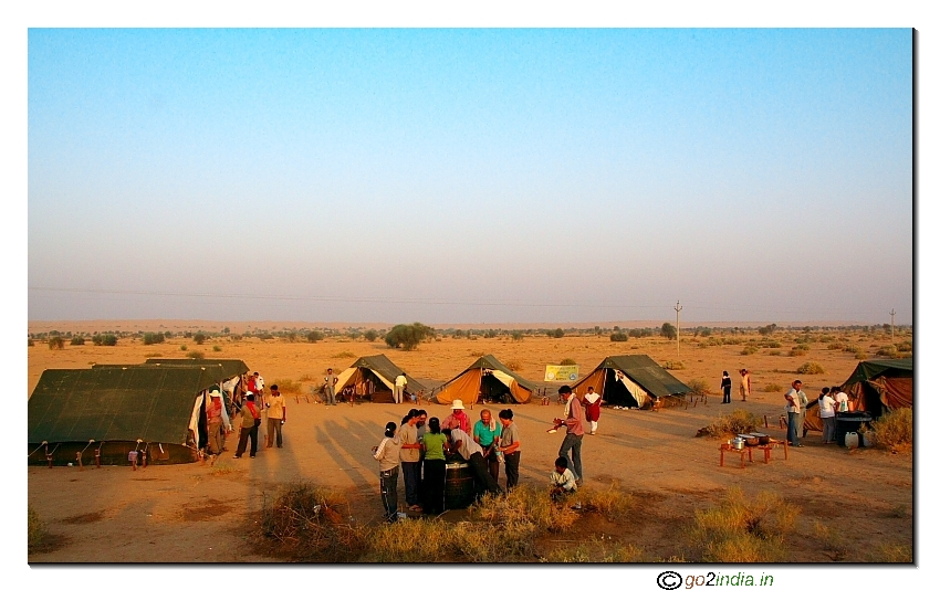 Camp site during desert trekking near Jaisalmer