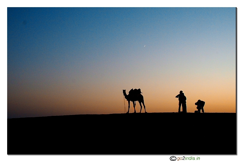 go2india.in : Desert sunset with Camel
