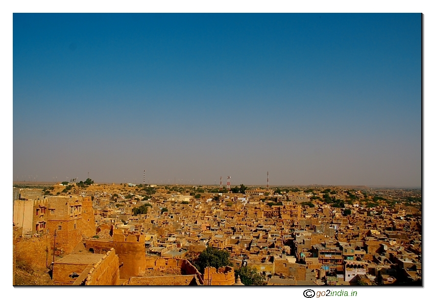 Yellow sand stone used in Jaisalmer town gives golden color