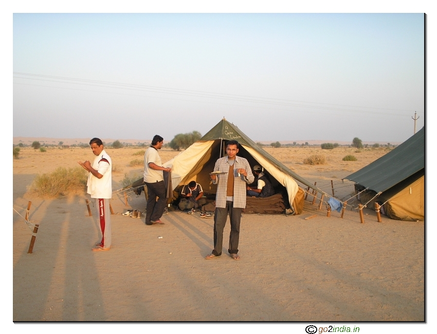 Taking food at a camp inside desert