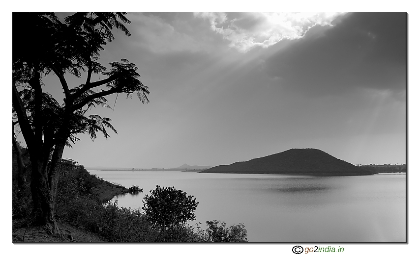 Black and White Nugu reservoir back water catchment area near kabini - Birwal