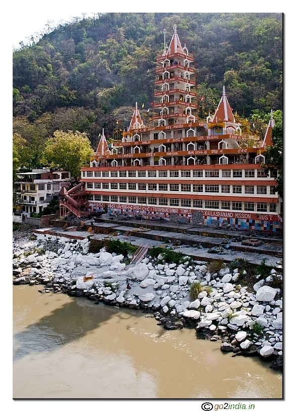 Temples by the side of river Ganga at Rishikesh