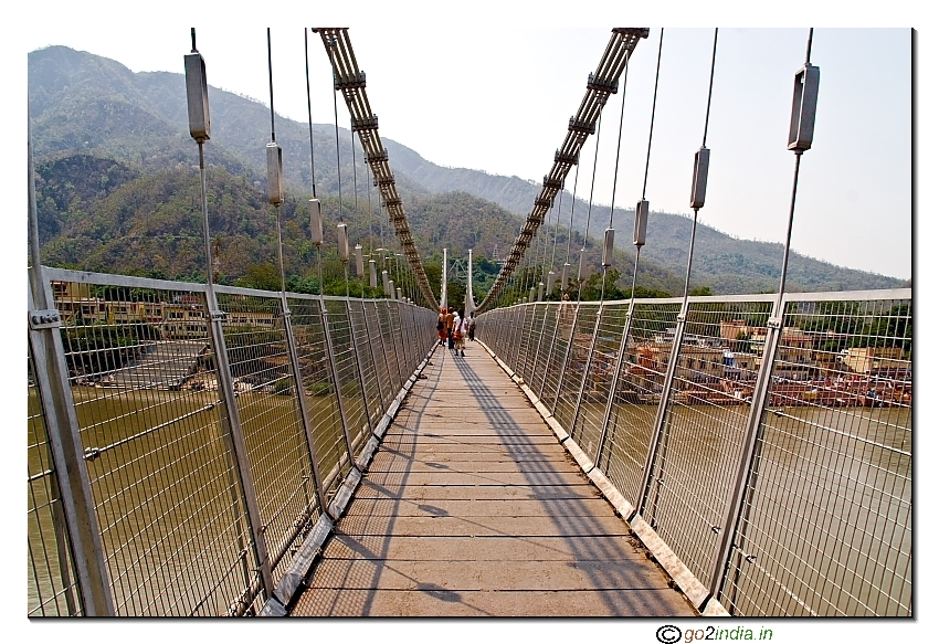 Ram Jhula the new hanging bridge over Ganga at Rishikesh