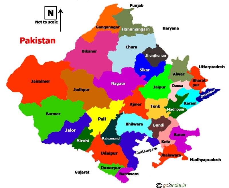 Rajasthan State Map go2india.in : Rajasthan state map showing districts Rajasthan State Map