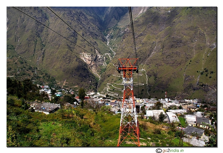 Joshimath view from Auli Cable car