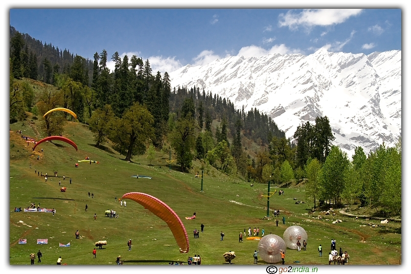 Solang valley at Manali for paragliding and Zorbing
