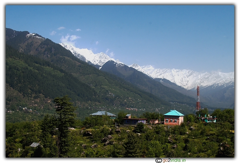 Kakhnal valley view with ice covered peaks at back ground in Manali