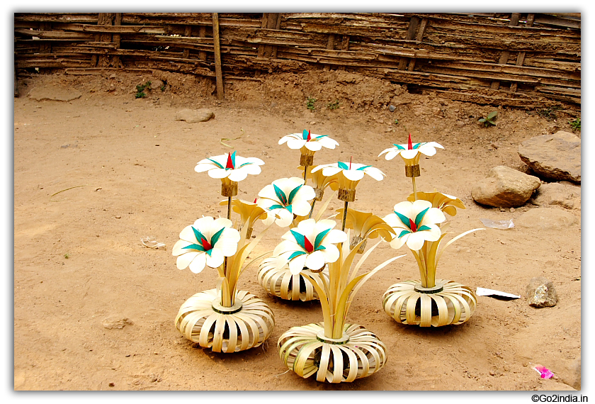 Flowers made of bamboo at Perantalapalli