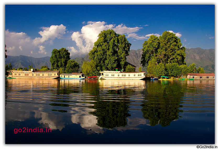 Houseboats at one end of Dal Lake