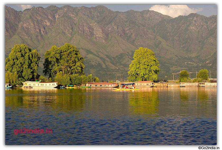Hill Houseboat and Dal Lake at Srinagar