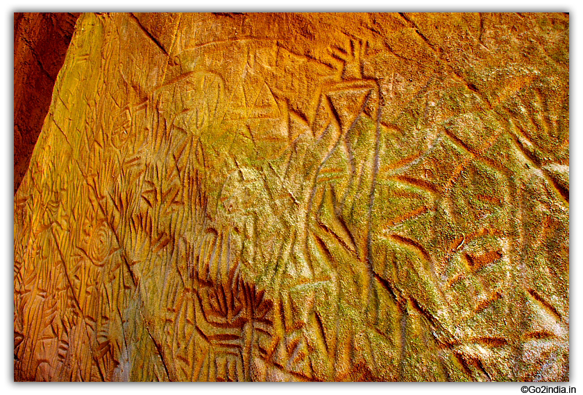 Stone engraved painting on walls of Edakkal cave at Wayanad Kerala
