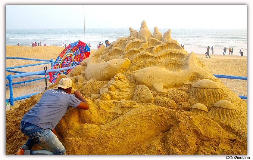 International Sand Art Festival at Chandrabhaga Beach near Konark Photos